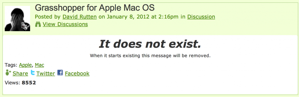 Grasshopper for Mac OS Doesn't Exist