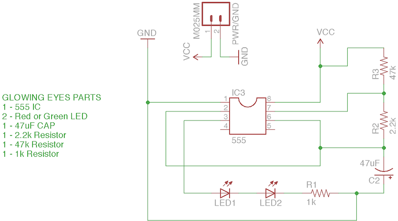 Eagle Schematic of 555 Timer Eyes